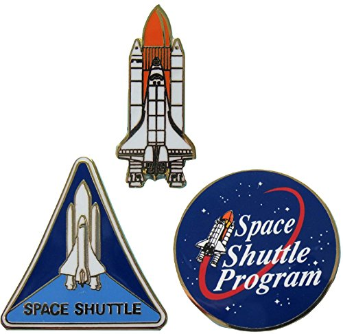 Space Shuttle Pin Trio Program and Orbiter with Boosters Official NASA -