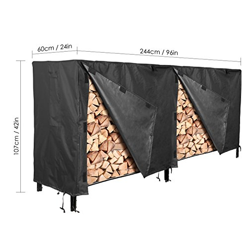femor Log Rack Cover, 8 Feet 600D Heavy Duty Waterproof Patio Outdoor Firewood Rack Cover, Black