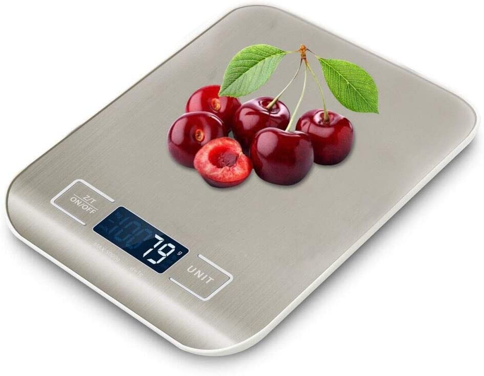 Digital Kitchen Scale, Kopmath Food Scale, 11LB/5KG, 6 Units with 0.04 oz / 1g Accuracy, Multifunction Stainless Steel Weight Scale for Cooking Baking, Clear LCD Display,Auto Off, Tare(Battery Inside)