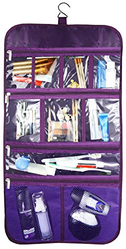 (Premium Hanging Toiletry Travel Bag - Cosmetic, Jewelry, Toiletry & Accessory Storage Organizer Bag, Large Size, Various Compartments (Purple))