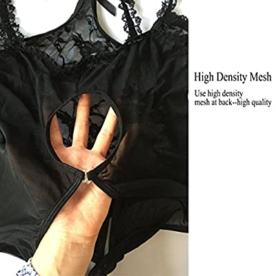 M&Z Women's Sexy Lingerie Open Cup Crotchless One-piece Teddy Lace Nightie