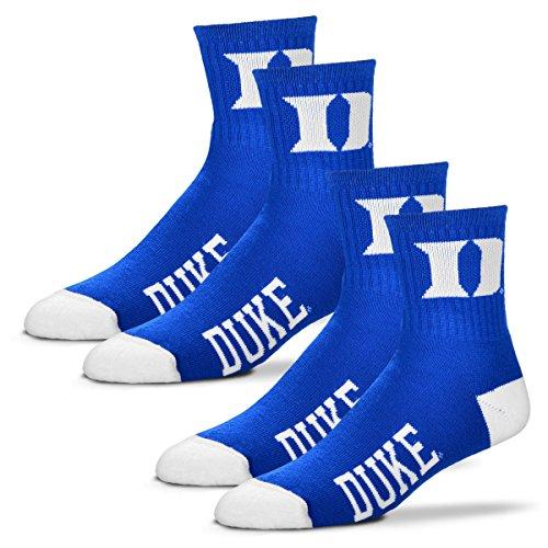 - For Bare Feet Men's Quarter Socks-Duke Blue Devils-Large-Blue-2 Pack
