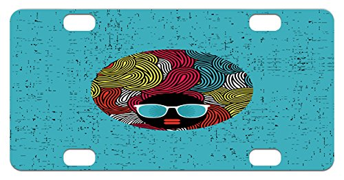 Black Woman Mini License Plate by Lunarable, Abstract Female Portrait with Strange Curly Hair Sunglasses Woman of Color, High Gloss Aluminum Novelty Plate, 2.94 L x 5.88 W Inches, - Strange Sunglasses