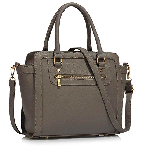 1 Monochrome Xardi Femme Sacs London Main Style Épaule Multi D'appui Grey Designer Simili À Cuir Femmes a11wZxq5