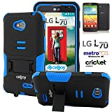 L70 Case, CellJoy [Combat Armor] {Blue & Black} LG Optimus L70 D325 2014 Release Model Case (WILL NOT FIT LG L90) Hybrid Ultra Fit Dual Protection [Heavy Duty] Kickstand **Shock-proof** [Rugged Grip Skin] - Robot Case Cover
