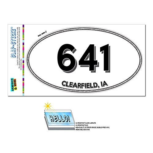 Graphics And More Area Code Euro Oval Window Laminated Sticker 641 Iowa Ia Ackley   Diagonal   Clearfield