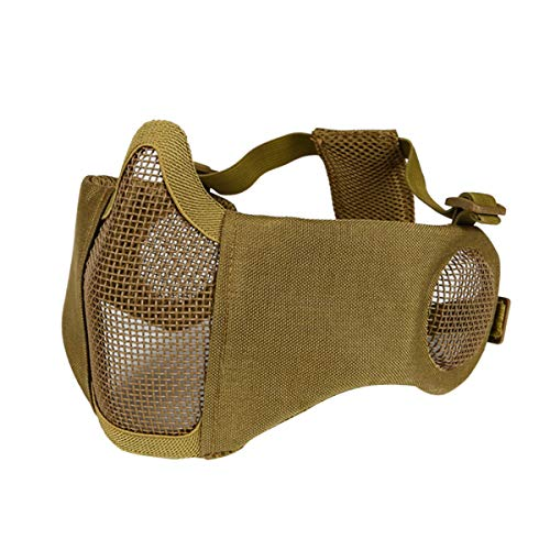 Vindar Airsoft Mesh Mask, Half Face Tactical Mask with Ear Protection for Airsoft/Paintball/CS Game/Hunting/Shooting (tan)
