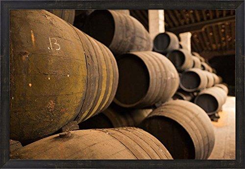 Sherry Casks, Bodegas Gonzalez Byass, Jerez de la Frontera, Spain by Walter Bibikow / Danita Delimont Framed Art Print Wall Picture, Espresso Brown Frame, 32 x 22 inches