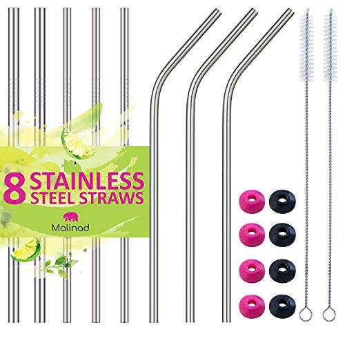 Reusable Metal Stainless Steel Straws - Set of 8 Premium Ultra Long 10.5