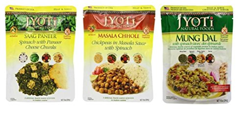 Jyoti Heat & Serve Gluten Free 3 Flavor Side Dish Sampler Bundle: (1) Jyoti Saag Paneer, (1) Jyoti Masala Chhole, and (1) Jyoti Mung Dal, 10 Oz. Ea. (3 Pouches)