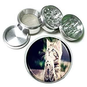 Funny Cat D3 Herb & Spice Grinder 63mm 4 Piece Aluminum Silver Metal Cute Silly Kitten