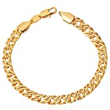 U7 Gold Plated 6MM Punk Chain 18K Yellow Gold/Platinum/Rose Gold/Black Gun Plated Link Bracelet