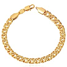 U7 Gold Plated 6MM Punk Chain 18K Yellow Gold/Platinum/Rose Gold/Black Gun Plated Link Bracelet