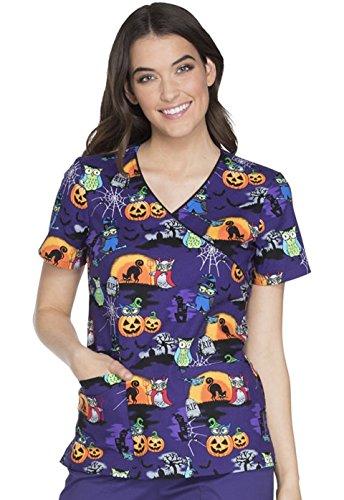 Cherokee Halloween Owl Be Trick Or Treating (OWTT) Mock Wrap Print Scrub Top, Black, M