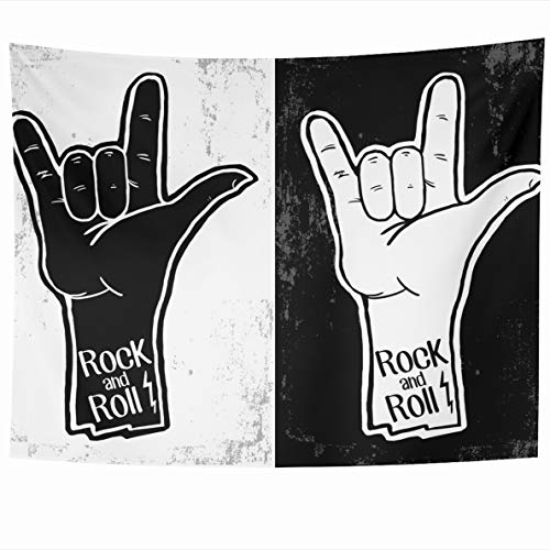 Ahawoso Tapestry 60x50 Inches Band Hand Drawn Rock Festival Roll Pennsylvania Graphic Music Arm Bass Black Burst Design Wall Hanging Home Decor Tapestries for Living Room Bedroom Dorm (Black Burst Bass)