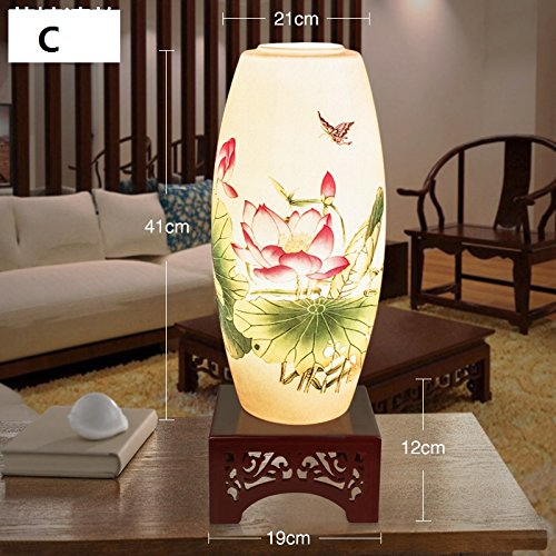 Hand Painted Porcelain Table Lamp Living Room Bedroom Study Bedside Light Modern Chinese Antique Desk Lamp for Special Gift ,C