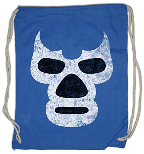 LUCHADOR BLUE DEMON Drawstring Bag Mexiko Wrestling Wrestler Mexican Mexico Latin Latino Sugar Mask Skull by Urban Backwoods
