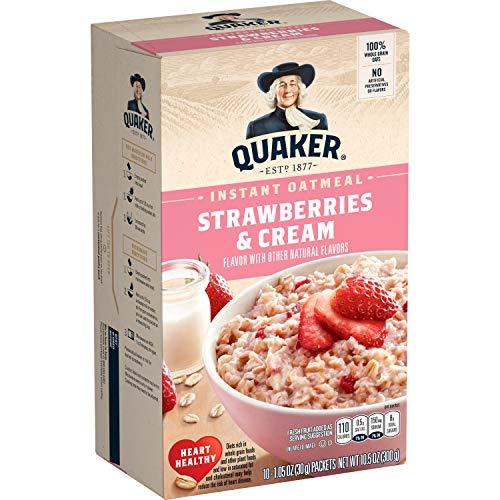 Quaker Strawberries & Cream Instant Oatmeal – 10ct