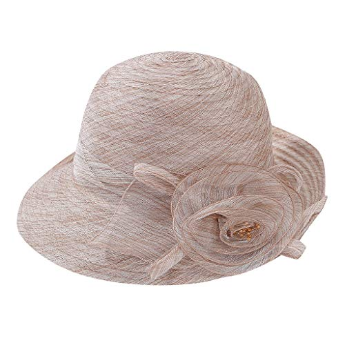 Scrub Hat Poppy - Tantisy ♣↭♣ Women's Organza Bridal Tea Party Wedding Flower Bucket Bowler Hats 2-in-1 Lady Derby Dress Church Cloche Hat Khaki