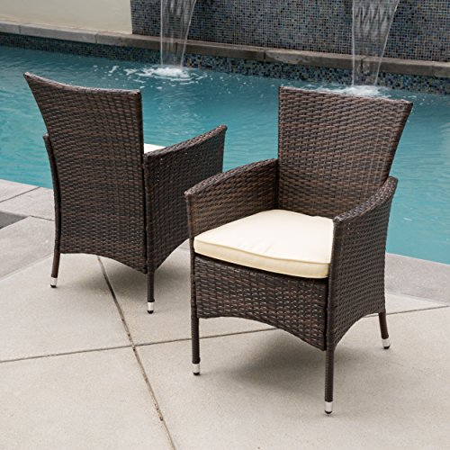 Clementine Outdoor Multibrown PE Wicker Dining Chairs (Set of 2) For Sale