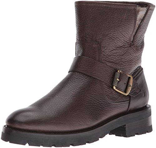 FRYE Women's Natalie Short Engineer Lug Shearling Winter Boot, Dark Brown, 7 M US by FRYE