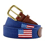 Smathers & Branson Men's American Flag Needlepoint Belt (Navy) 38 Classic Navy