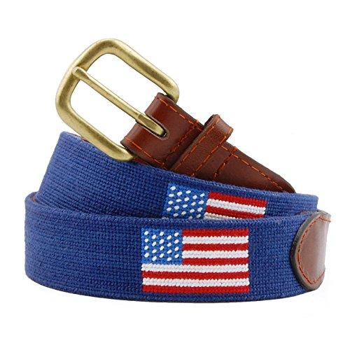 (Smathers & Branson Men's Needlepoint Belt 32 American Flag/Classic)
