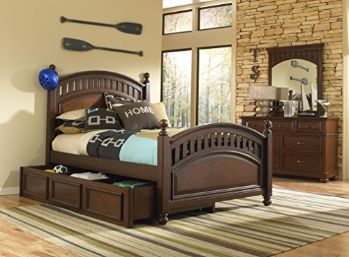 (Pulaski 8468-BR-K15 Expedition Youth Poster Underbed Twin Kids Bed with Storage Drawers Brown)