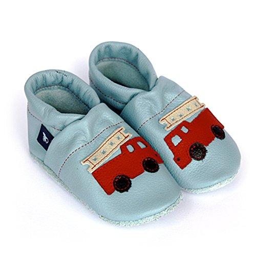 Pantau Leder Krabbelschuhe Lederpuschen Babyschuhe Lauflernschuhe mit Feuerwehr, 100% Leder Hellblau-Rot-Beige