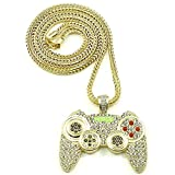 Rock Rapper Hip Hop Necklace Gamepad Pendant CZ Iced Out Bling Bling Crystal Punk Jewelry 36'' Rope Chain (Gold Tone)