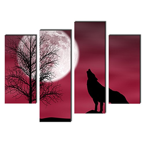 4 Panels Canvas Wall Art Painting Wolf Picture Prints Animals