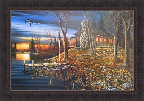 (Complete Serenity by Jim Hansel 24x34 Log Cabin Lake Boat Dock Sunset Geese Framed Art Print Picture )