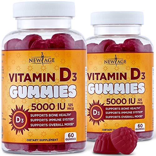 Vitamin D3 5000 IU 125mcg Gummies by New Age – 2 Pack – Support Immune Health – Non-GMO, Gluten-Free, Dairy-Free, No…