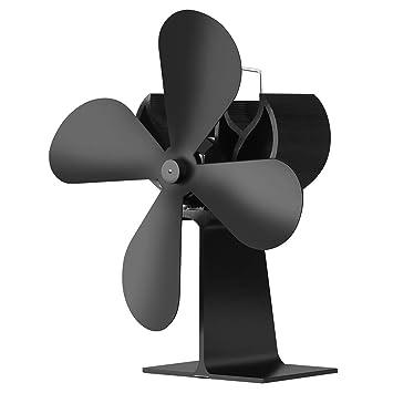 Ventilador de la estufa de la chimenea de la energía térmica de 4 cuchillas: Amazon.es: Coche y moto