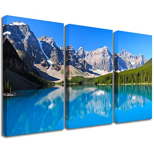 3 Panels Landscape Wall Decor America Grand Teton National Park in Sunshine Day Scenery Prints Canvas Painting Framed for Office Decor Ready to Hang (8 Banff National Park, 16
