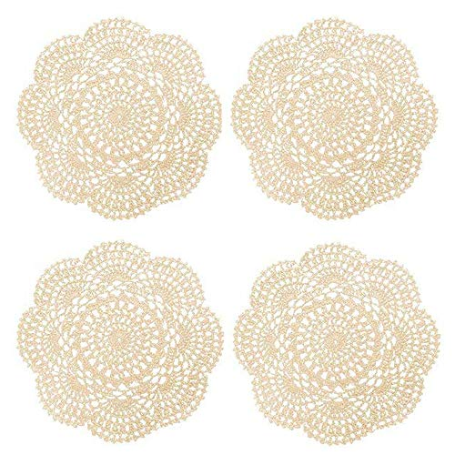 Phantomon Round Crochet Lace Doily Beige Handmade Doilies 100% Cotton Coasters, 8 Inch, Pack of 4 ()