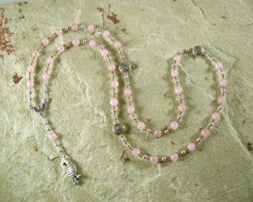 Freyja Prayer Bead Necklace in Rose Quartz: Norse Goddess of Love, War, Passion, Magic