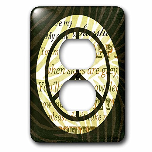 (3dRose LSP_110428_6 Sunshine Love Song Words Peace Sign with Zebra Print 2 Plug Outlet Cover, Multicolor)