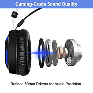 ALWUP A6 Stereo Gaming Headset for PS4, PC, Xbox One Headset, Lightweight Over-ear Wired Headset with Mic, 50mm Drivers, Surround Sound, Passive Noise Cancelling for PlayStation 4, Laptop, Computer