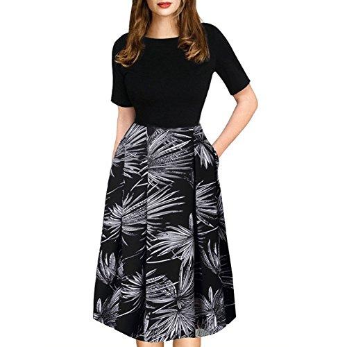 Caracilia Women Wear To Work Dress A-Line Vintage swing Pocket 9/6 Black S