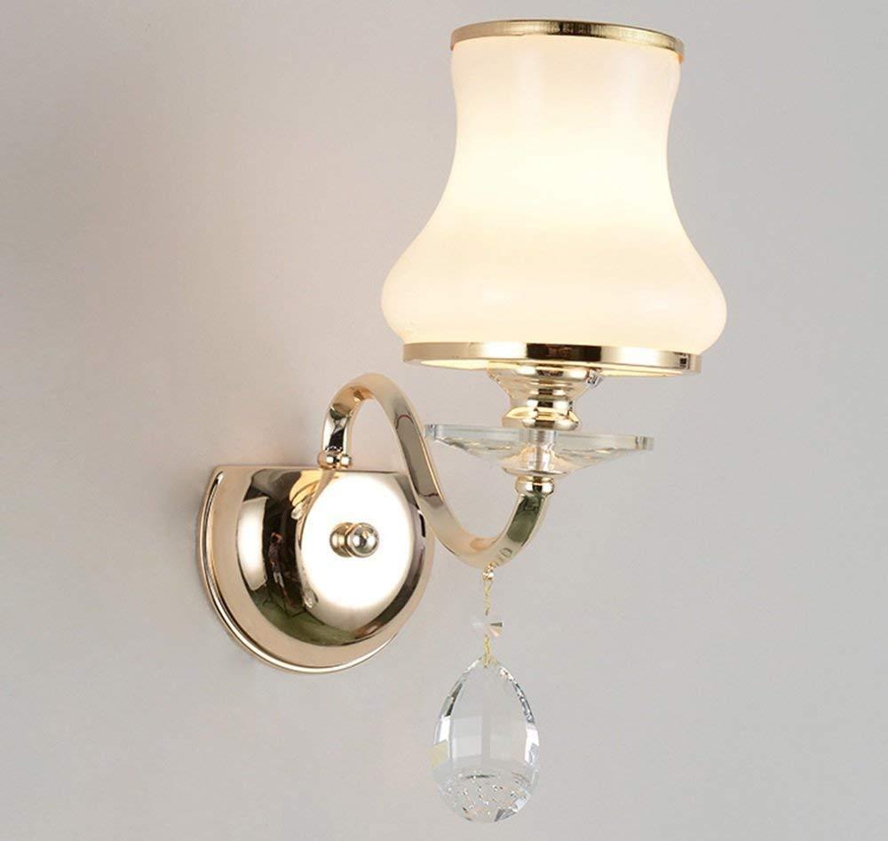 WHKHY Bedside Table Lamp Wall Lamp Crystal Wall Lamp Simple Walk Furnishing The Bedchamber Lounge Lamp Bedside Lamp (Style: Single Head),Double Head