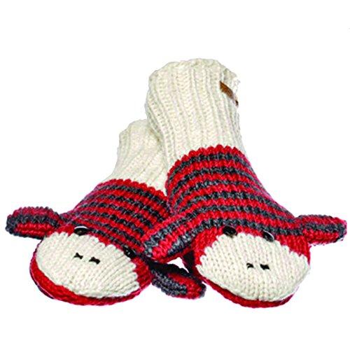 Knitwits Delux Red & Black Striped Sock Monkey Wool Knit Mittens (Striped Monkey Red)