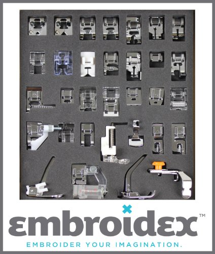 Embroidex 32 Sewing Presser Feet for Brother, Babylock, New Home, Janome, Elna, Toyata, Singer, Elna, Simplicity, Necchi, Kenmore (Blind Hemmer Babylock compare prices)