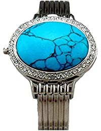 Twilight Bella Style Oval Turquoise Cuff Crystal Watch