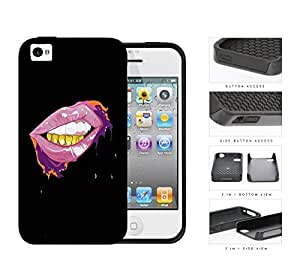 Pink Lips And Gold Grill Thuggin 2-Piece Dual Layer High Impact Rubber Silicone Cell Phone Case Apple iPhone 4 4s