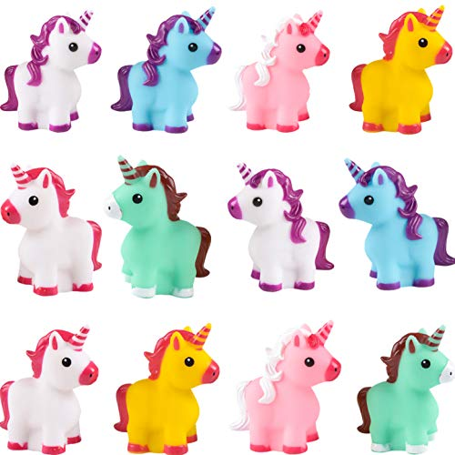 Colorful Rubber Unicorns (Pack of 12) Assorted Bright Colors, for Unicorn Themed Birthday Party, Goodie Bag Filler, Squeezable & Squirtable for Kids Bath Play ()