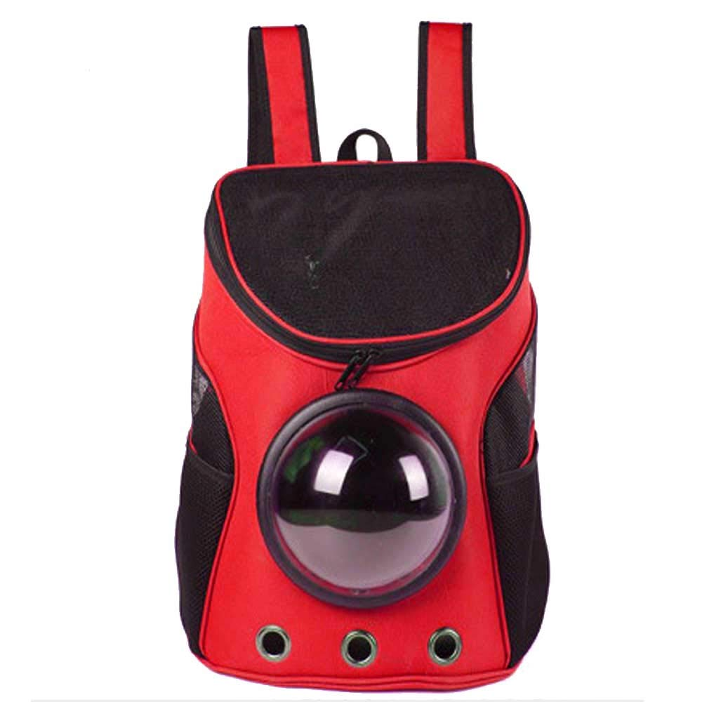 Pet Backpack Light and Breathable Travel Hiking Camping Red Hands-Free Space Cat and Dog Backpack