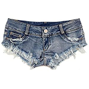 Soojun Women's Sexy Cut Off Low Waist Denim Micro Mini Shorts Clubwear