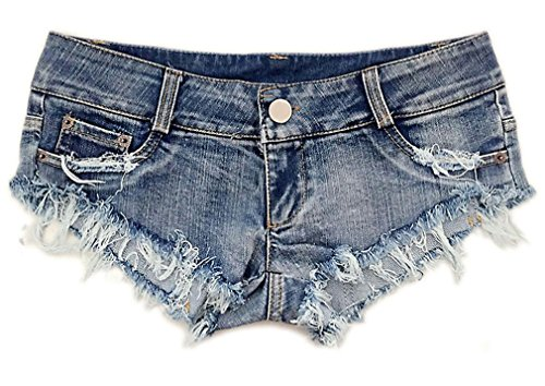 Soojun Women's Sexy Cut Off Low Waist Denim Micro Mini Shorts Clubwear, US 0