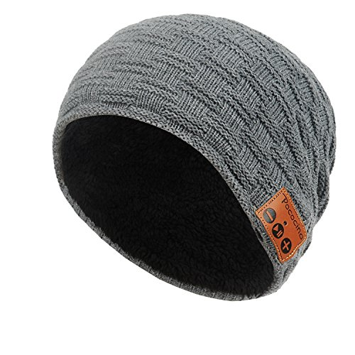 Bluetooth Beanie Hat with Headphone, Pococina Knit Cap Built in Mic and Wireless Headset for Man and Women (HW grey)